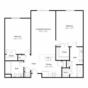 Azalea Floor Plan - 2 Bedrooms, 2 full Bathrooms