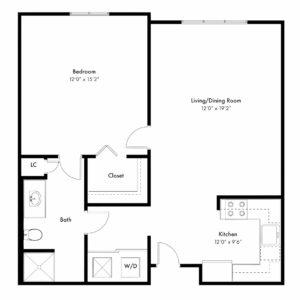 Gardenia Floor Plan - 1 Bed, 1 Bath