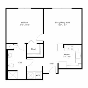 Rose Floor Plan - 1 Bed, 1 Bath